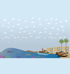 Beach vacation concept flat vector