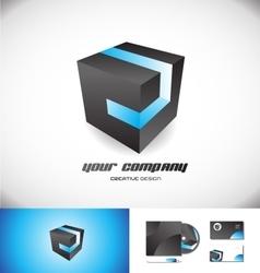 Black cube blue stripe 3d logo icon design vector image vector image