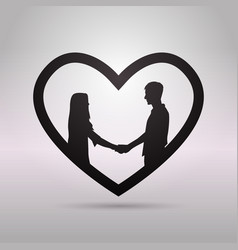 Black silhouette couple holding hands in heart vector