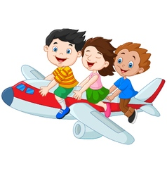 Cartoon little kids riding airplane isolated on wh vector image