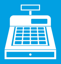 Cash register icon white vector