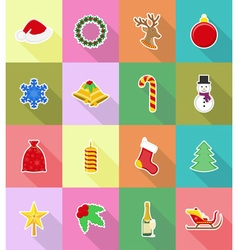 christmas and new year flat icons 18 vector image vector image