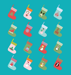 christmas and winter holiday modern icons set vector image vector image