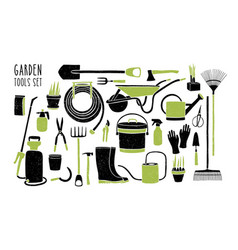 collection of gardening tools isolated on white vector image