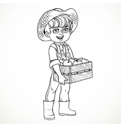 Cute boy farmer in jeans overalls and rubber boots vector