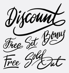 discount and bonus hand written typography vector image vector image