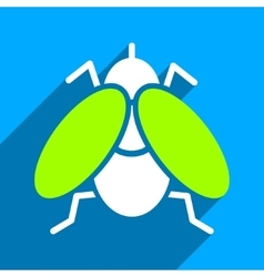 Fly flat square icon with long shadow vector
