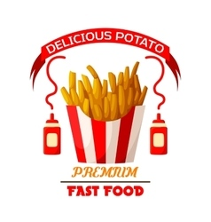 French fries fast food fried potato icon vector