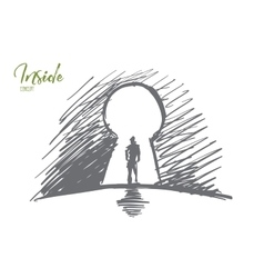 Hand drawn man standing in keyhole with lettering vector
