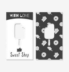 Hand drawn silhouettes sweet shop business cards vector