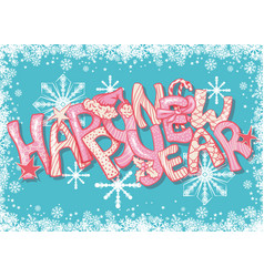 Happy new year gift card with hand lettering vector