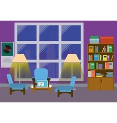 Home interior with large window vector