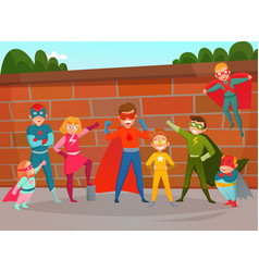 Kids team superheroes composition vector