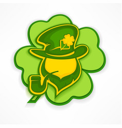 leprechaun with pipe on green vector image