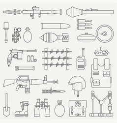 Line flat military icon set army equipment vector