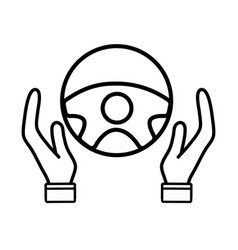 Line person hands driving steering wheel vector