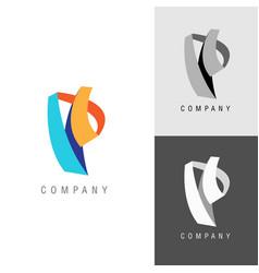 logo design element letter symbol p vector image vector image