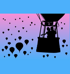 lovers in balloon at dawn vector image