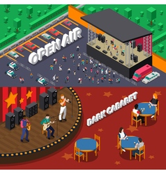 Musicians people isometric banners vector