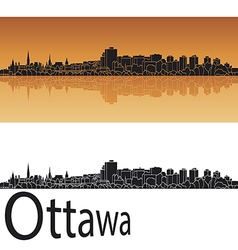 Ottawa skyline in orange background vector