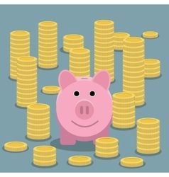 Piggy bank and coin stacks vector image vector image