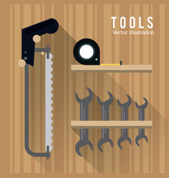 Saw meter wrencht tool icon repair concept vector
