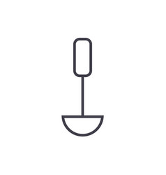 soup ladle kitchen spoon line icon sign vector image