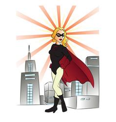 Superheroine and buildings vector
