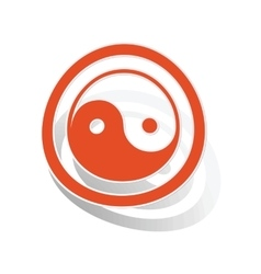 Ying yang sign sticker orange vector