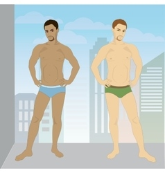 young man in his underwear full growth vector image