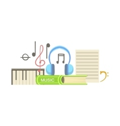 Music class set of objects vector