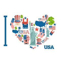 I love america sign heart of usa traditional folk vector