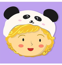 Curly girl with panda hat vector