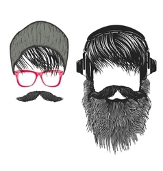 Set of hipster hairstyle men with beard and vector