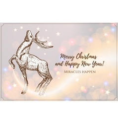 Christmas with reindeer The design vector image