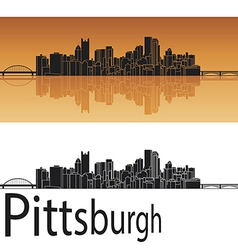 Pittsburgh skyline in orange background vector