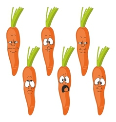 Emotion cartoon carrot vegetables set 009 vector