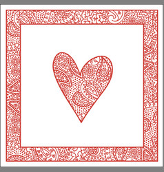 valentine card with paisley pattern heart and vector image