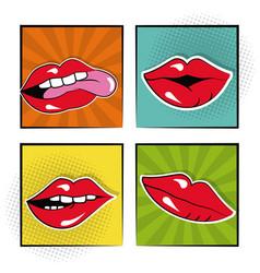 set sexy female lips bubble speech pop art vector image