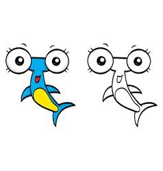 Cartoon hammerhead vector image