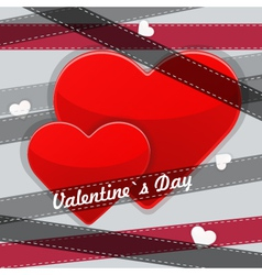 Red heart with ribbons vector