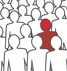 Unusual person in the crowd concept vector