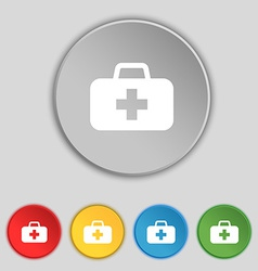 Medicine chest icon sign symbol on five flat vector