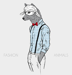 Wolf in a sheep mask hand drawn design vector