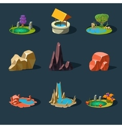 Elements landscape rocks water well waterfall vector