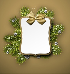 Paper gift card over spruce twigs vector