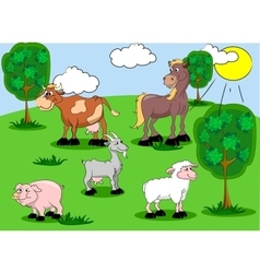 Set of domestic animals on background vector