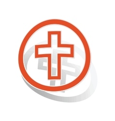 Christian cross sign sticker orange vector