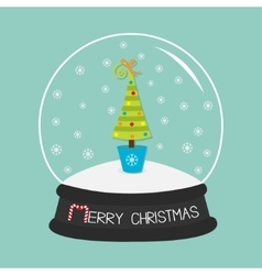 Fir tree toys bow crystal ball and snowflakes vector