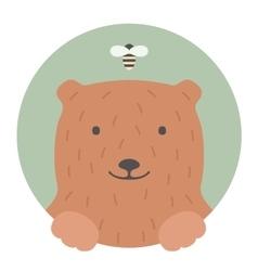 Animal set portrait in flat graphics - bear vector